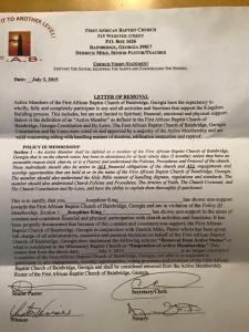 church termination letter